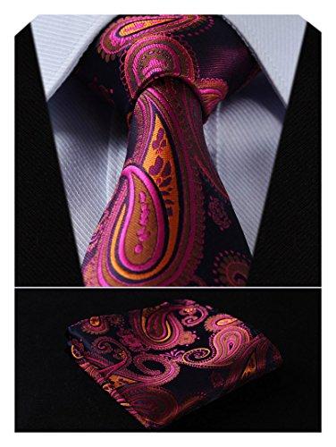 (HISDERN Extra Long Floral Paislry Tie Handkerchief Men's Necktie & Pocket Square Set (Hot Pink & Blue & Orange))