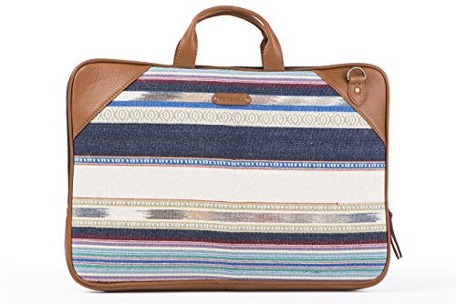 Laptop Bag Blue and white stripe by October Jaipur