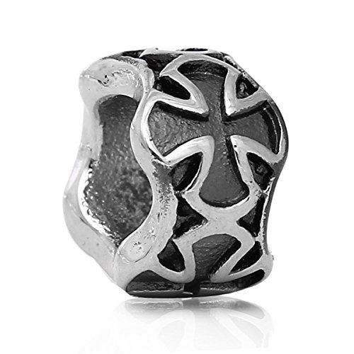 """Stainless Steel """"Cross"""" Spacer Bead Charm 01077"""