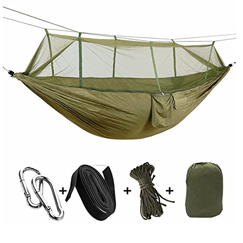 Price comparison product image QILOVE Outdoor Camping Hammock - Lightweight Nylon Portable Hammock High Strength Parachute Hanging Bed Durable Packable Travel Bed With Mosquito Net Sleeping Hammock