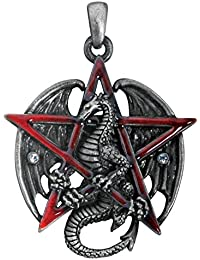 Gothic Red Pentagram Star Dragon Pendant Necklace Jewelry Accessory