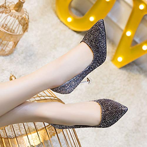 HRCxue vielseitige Pumps Hochzeitsschuhe, Brautschuhe, High Heels, Damen-Stiletto-Schuhe, vielseitige HRCxue Schuhe, 36, Silber schwarz 9418d8