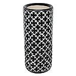 Ceramic Quatrefoil Umbrella Stand in Black/White
