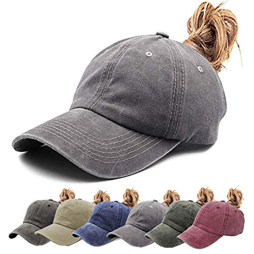 Aedvoouer Ponytail Baseball Hat Women Vintage Messy High Bun Washed Cotton Ponycaps Adjustable Trucker Hat (V-Grey(Ponytail hat))