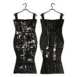Hanging Jewelry Organizer Holder Non-Woven Fabrics Storage Dress Shape Dual Side (black)