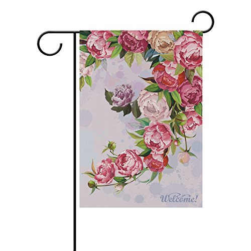 My Daily Watercolor Peonies Flowers Welcome Decorative Double Sided Garden Flag 12 x 18 inch (Peony Water Garden)