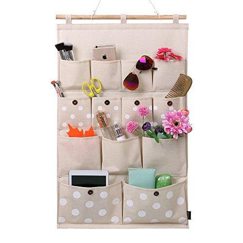 Homecube Linen/Cotton Fabric 13 Pockets Wall Door Closet Hanging Storage bag organizer,White Polka Dots/Navy Stripe (White polka dots)