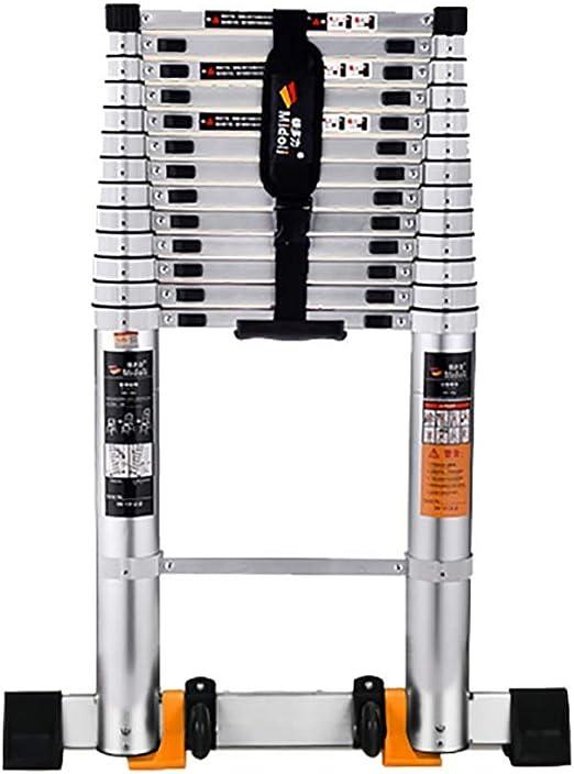 Escalera recta Escalera alta telescópica de aleación de aluminio de 2M-4M con ruedas Escaleras de extensión telescópicas portátiles for la oficina del ático doméstico, carga 150 kg (Size : 2m/6.5ft) :