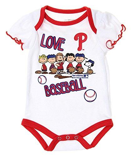 - Outerstuff MLB Philadelphia Phillies Baby Girls Infants Peanuts Love Baseball Creeper, W.
