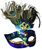 AMSCAN Peacock Feather Masquerade Mask Halloween Costume Accessories, One Size