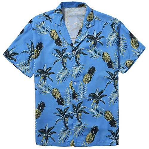 ZIOLOMA Men's Short Sleeve Tropical Pineapple Shirt Beach Hawaiian Shirt SkyBlue ()