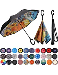 Double Layer Inverted Umbrella Reverse Folding Umbrellas Windproof UV Protection Big Straight Umbrella for Car Rain Outdoor with C-Shaped Handle