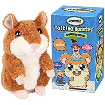 Ayeboovi Toys for 2 Year Old Talking Hamster Repeats What You Say Educational Talking Toy Repeating Hamster Toy Gift for Kids 1 2 3 4 5 Year Old ... (Brown)