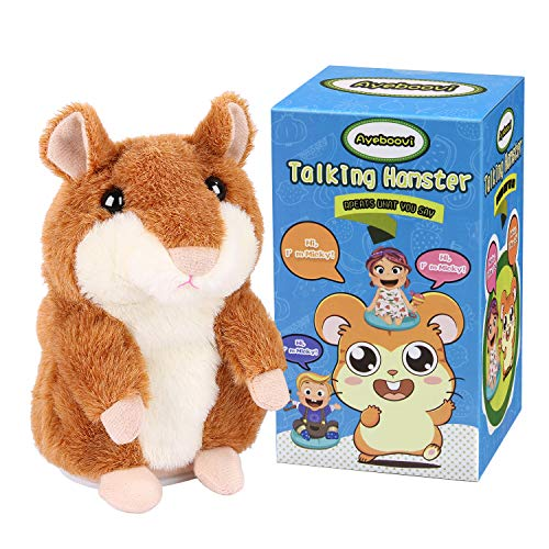 Ayeboovi Talking Hamster Repeats What You Say Mimicry Pet Toy Plush Buddy Mouse for Children Gift]()
