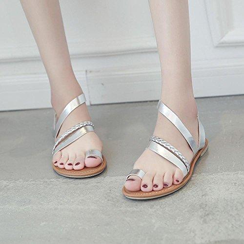 存在摂動摂氏度(US:7.5, Silver) - Clearance,AIMTOPPY Women Summer Strappy Gladiator Low Flat Heel Flip Flops Beach Sandals Shoes (US:7.5, Silver)