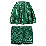 TFJH E 2 in 1 Kids Baby Girls Dance Tutu Skirt Shorts Fish Scale Stretch Leggings Pants Green Skirt and Shorts XL