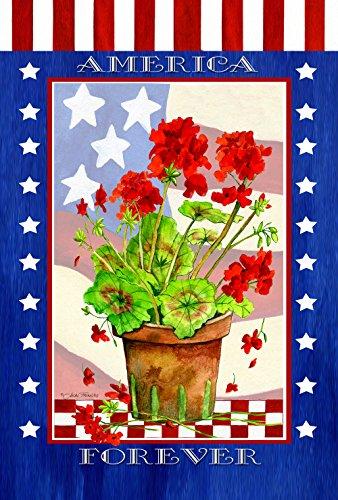 - Toland Home Garden Patriotic Geranium Pot 28 x 40 Inch Decorative Colorful America Forever Summer Flower House Flag