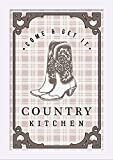 Country Kitchen - Cowboy Boots on Plaid (12x18 Giclee Art Print, Gallery Framed, White Wood)