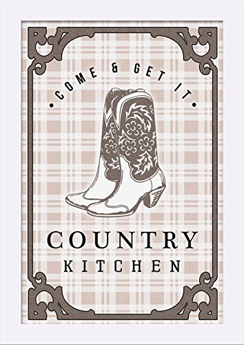 Country Kitchen - Cowboy Boots on Plaid (12x18 Giclee Art Print, Gallery Framed, White Wood) by Lantern Press