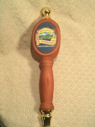 Sierra Nevada Summerfest Crisp Summer Lager Tri-Sided Style Beer Tap Handle Natural Dark Wood , Circular Label 3-Sided 13