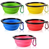SENHAI Collapsible Dog Bowls - 5 Pack Food Grade Silicone BPA Free Cat Pet Plate for Feeding Watering on Journeys Travel Hiking Camping