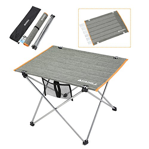 YAHILL Aluminum Folding Collapsible Camping Table Roll up 3 Size with Carrying Bag for Indoor and Outdoor Picnic, BBQ, Beach, Hiking, Travel, Fishing (Polyester Fiber Cover- L) Review
