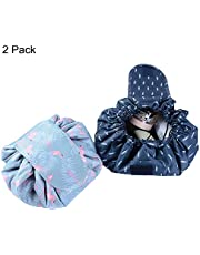 Lazy Makeup Bag Drawstring Cosmetic Bag Magic Travel Pouch Portable Quick Pack Waterproof Organizer Bags for Women 2 Pack