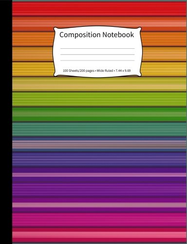 Composition Notebook: Jewel-Tone Stripes, Wide-Ruled, 200 Pages Notebook - Stripes Tone Jewel