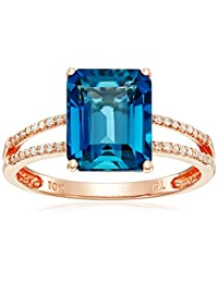 10k Rose Gold Emerald Cut London Blue Topaz with Diamond Accent Ring, Size 7