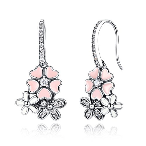 WOSTU 925 Sterling Silver Hook Earrings Silver Pink Flower Enamel Cubic Zirconia Dangle Drop Earrings Women Earrings Valentines Gift