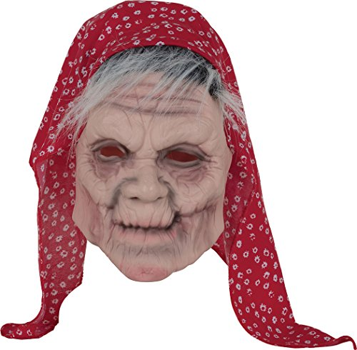 Bristol Novelty Halloween Old Lady Mask with Head Scarf, Unisex-Adult, One -