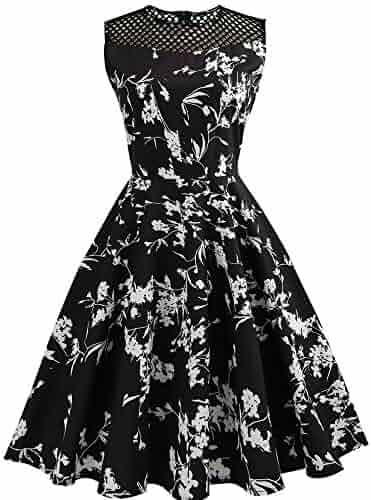 bcc13b20008 🌷🌷Heshikeji Women Summer Dreses Elegant Boatneck Sleeveless Vintage Tea  Dress with Belt Evening Party