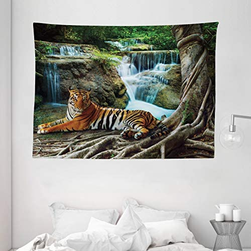 Ambesonne Safari Tapestry, Indochina Tiger Laying Under Banyan Tree Against Limestone Waterfall Relaxing Nature, Wide Wall Hanging for Bedroom Living Room Dorm, 80 X 60 , Green Brown
