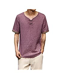 TIMEMEANS Mens T-Shirt Traditional Casual Short Sleeve V Neck Top Loose Blouse