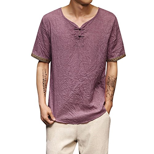 Mens Traditional Linen Henley Shirts Casual Short Sleeve V Neck Loose Tops