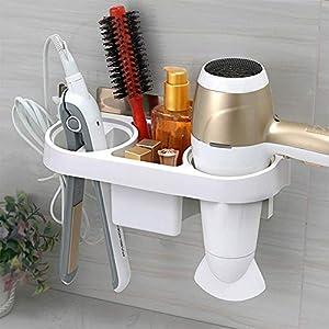 XENOTY Hair Dryer Rack Comb Holder Bathroom Storage Organizer Self-Adhesive Wall Mounted Stand for Shampoo Straightener…