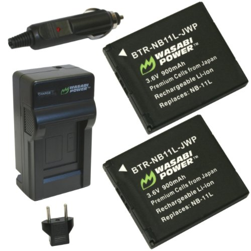 Wasabi Power Battery (2-Pack) and Charger for Canon NB-11L, NB-11LH and Canon PowerShot A2300 IS, A2400 IS, A2500, A2600, A3400 IS, A3500 IS, A4000 IS, ELPH 110 HS, ELPH 115 HS, ELPH 130 HS, ELPH 135 IS, ELPH 140 IS, ELPH 150 IS, ELPH 160, ELPH 170 IS, ELPH 320 HS, ELPH 340 HS, ELPH 350 HS, SX400 IS, SX410 IS (11l Battery Pack)