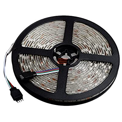 elcPark 5M/16.4FT RGB Changing Color LED Strip Light + 44keys IR Remote Controller led Kit SMD 5050 300LED Waterproof IP65 ,White Double sided board