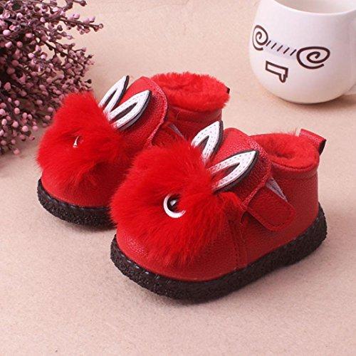 Hunpta Kinder Nette Karikatur Baby Mädchen Weiche Sohle Samt Stiefel Kinder Warm Kaninchen Schuhe Rot
