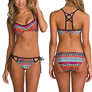 Geritu Sexy Women Bikini Set Swimwear Push-Up Bra Padded Swimsuit Beachwear Multicolor XL