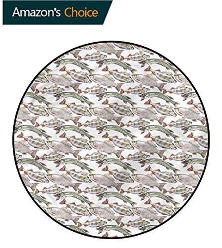 (RUGSMAT Fishes Modern Machine Round Bath Mat,Carp Perch and Bass Floor Mat Home Decor Round-71)