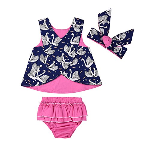 3pcs Baby Girls Origami Printed Cross Shirt+Ruffled Leaf Short Pants+Headband Outfit Set (80(6-12M), Rose - Origami 80