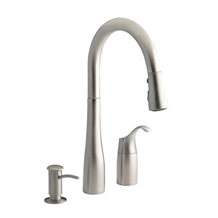 kohler simplice kitchen faucet matte black kohler simplice threehole kitchen sink faucet with 9quot pulldown spout 9