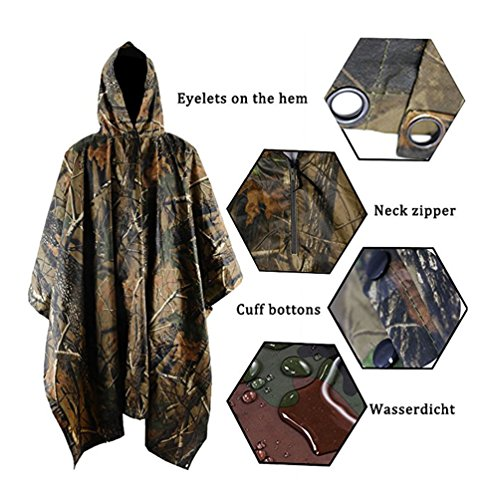 Vcansion Multifunction Rain Poncho,Waterproof Raincoat with Hoods Rain Poncho for Outdoor Hunting Hiking Activities for Men and Women Army Green