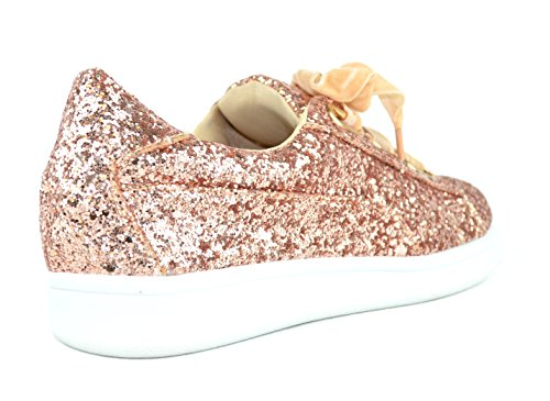 Chase & Chloe Celine-11 Canvas Lace-Up Womens Fashion Sneaker Rose Gold 3K3TBwih
