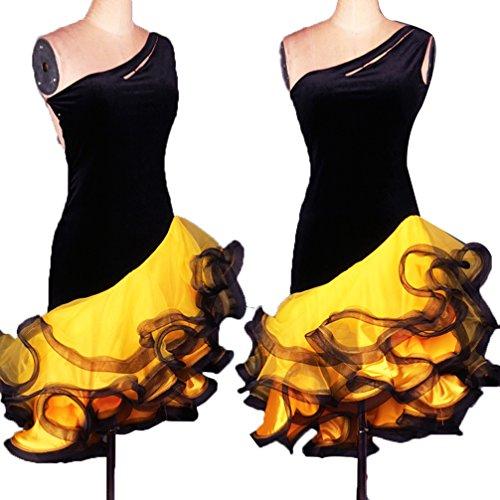 Donne Colori Pesce Abbigliamento Competizione Ballo Cuciture Lisca Dance Senza m Vestito Gonna Di Cha Latino Xxl Wqwlf A Per Yellow Da Prestazione Collare Costume Spalline 0WnqwfvxX1