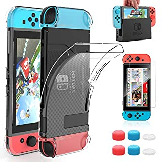 HEYSTOP Case Compatible with Nintendo Switch Dockable Clear Protective Case Cover for Nintendo Switch and Joy-Con Controller with a Nintendo Switch Screen Protector and Thumb Stick Caps