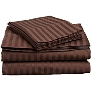 Dreamz cama Super suave algodón egipcio de 300hilos 1pieza sábana/sábana encimera doble pequeña, chocolate/marrón de rayas