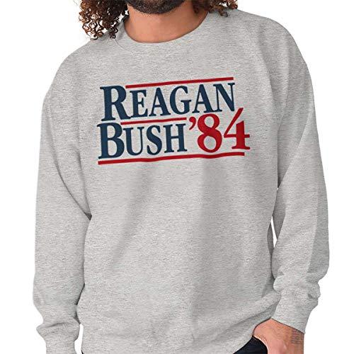 Brisco Brands Ronald Reagan George Bush 84 Election POTUS Crewneck Sweatshirt Sport Grey