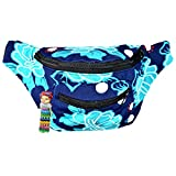 Floral Fanny Pack, Stylish Party Boho Chic Handmade with Hidden Pocket (Blue Malibu)